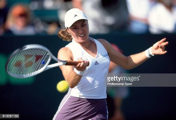 Martina Hingis of Switzerland in action during the NASDAQ100 Open Tennis Tournament at the Tennis Center at Crandon Park in Key Biscayne Florida...