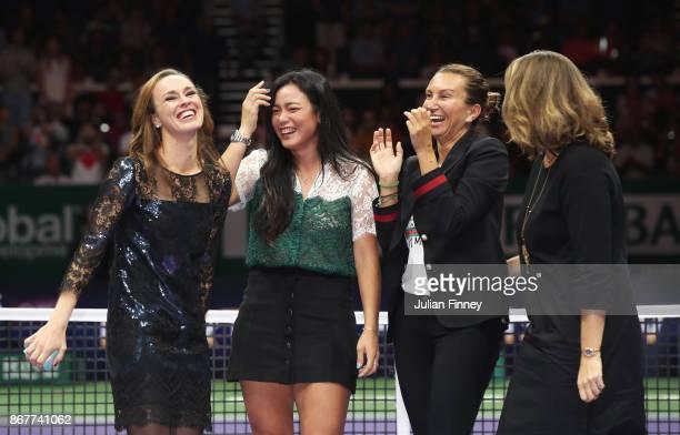 Martina Hingis of Switzerland laughs with Chan YungJan of Chinese Taipei and WTA Legend Ambassadors Iva Majoli and Mary Pierce during her retirement...