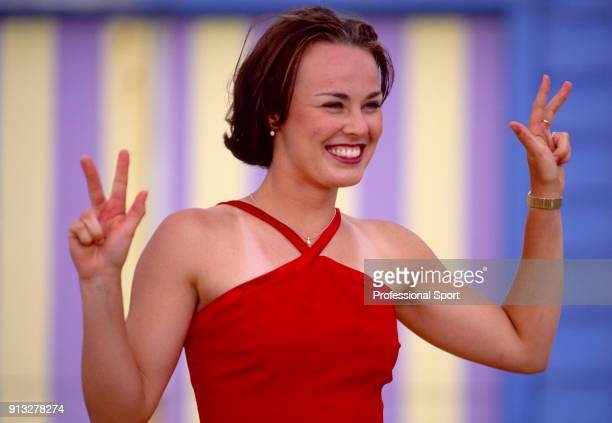 Martina Hingis of Switzerland poses at Brighton Beach after defeating Amelie Mauresmo of France in the Women's Singles Final of the Australian Open...