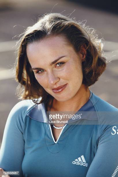 Martina Hingis of Switzerland poses for a portrait for sports clothing accessories company Adidas on 4 April 2001 at the Saddlebrook ResortTampa...