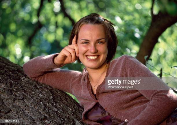 Martina Hingis of Switzerland poses in a tree for a photoshoot during the Australian Open Tennis Championships in Melbourne Australia circa January...