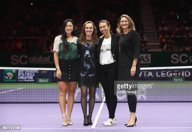 Martina Hingis of Switzerland poses with Chan YungJan of Chinese Taipei and WTA Legend Ambassadors Iva Majoli and Mary Pierce during her retirement...