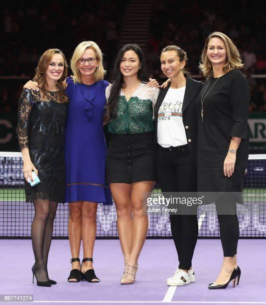 Martina Hingis of Switzerland poses with Micky Lawler WTA President Chan YungJan of Chinese Taipei and WTA Legend Ambassadors Iva Majoli and Mary...