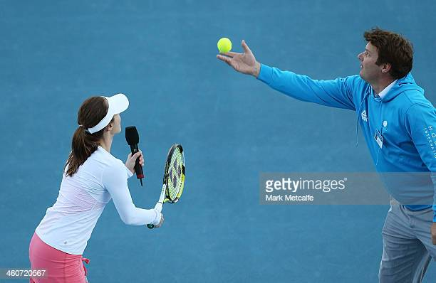 Martina Hingis of Switzerland prepares to serve in her exhibition match with Belinda Bencic of Switzerland during day one of the Moorilla Hobart...