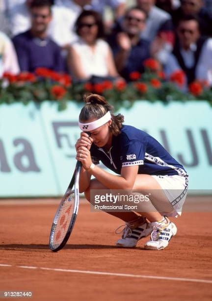 Martina Hingis of Switzerland reacts during the French Open Tennis Championships at the Stade Roland Garros circa May 1999 in Paris France