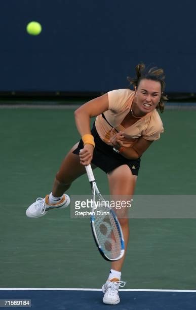 Martina Hingis of Switzerland serves against Kim Clijsters of Belgium during their match on Day 5 of the Acura Classic August 4 2006 at La Costa Spa...
