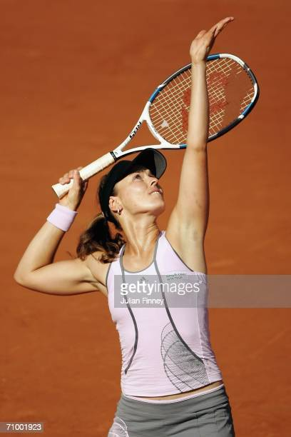 Martina Hingis of Switzerland serves to Dinara Safina of Russia in the final during the WTA Masters Series at Foro Italico on May 21 2006 in Rome...