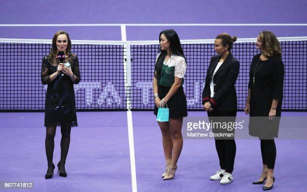 Martina Hingis of Switzerland talks with Chan YungJan of Chinese Taipei and WTA Legend Ambassadors Iva Majoli and Mary Pierce during her retirement...