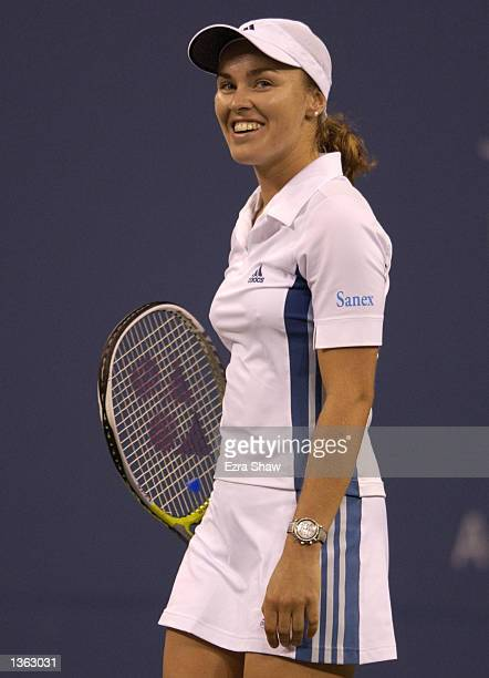 Martina Hingis of Switzerland walks back to the baseline while playing Amanda Coetzer of South Africa during the US Open on August 31 2002 at the...