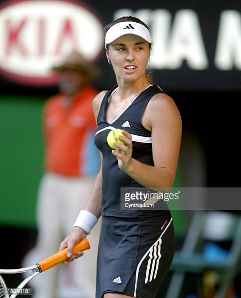 Martina Hingis on her way to defeat against Kim Clijsters in the quarterfinal of the Australian Open Melbourne AustraliaClijsters won 63 26 64