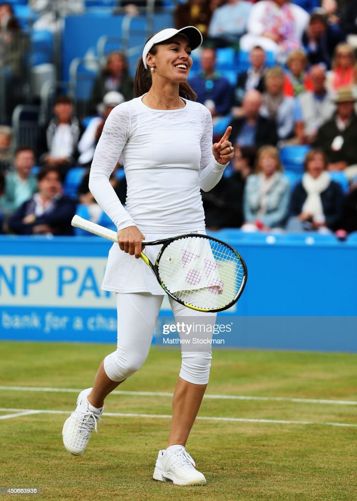 Martina Hingis plays in a 'Rally for Bally' charity event on day seven of the Aegon Championships at Queens Club on June 15, 2014 in London, England. The 'Rally for Bally' is a fundraising effort in memory of the former British tennis player Elena Baltacha who died recently of liver cancer.