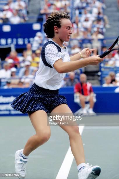 Martina Hingis watches tennis at the US Open circa 1996 in New York City.