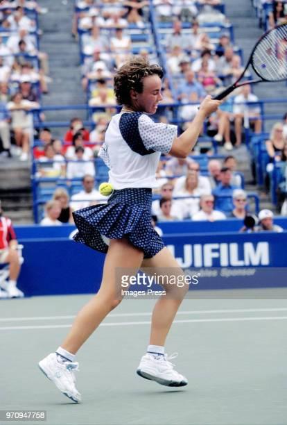 Martina Hingis watches tennis at the US Open circa 1996 in New York City