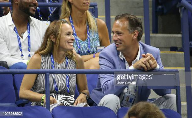 Martina Hingis who got married a month ago to Harald Leemann wears her wedding ring during day 10 of the 2018 tennis US Open on Arthur Ashe stadium...