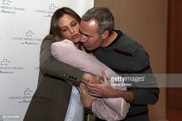 Martina Klein and Alex Corretja present their newborn daughter Erika Corretja at the Clinica Teknon of Barcelona on January 13 2017 in Barcelona Spain