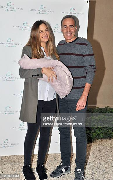 Martina Klein and Alex Corretja present their newborn daughter Erika Corretja at the Clinica Teknon on January 13 2017 in Barcelona Spain