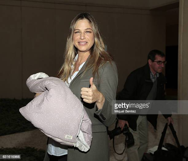 Martina Klein presents her newborn daughter Erika Corretja at the Clinica Teknon of Barcelona on January 13 2017 in Barcelona Spain