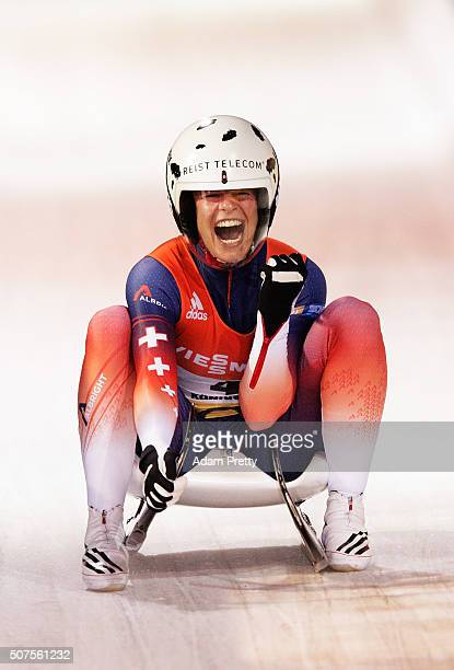 Martina Kocher of Switzerland celebrates second place in the Women's Luge competition at Deutsche Post Eisarena Koenigssee on January 30 2016 in...