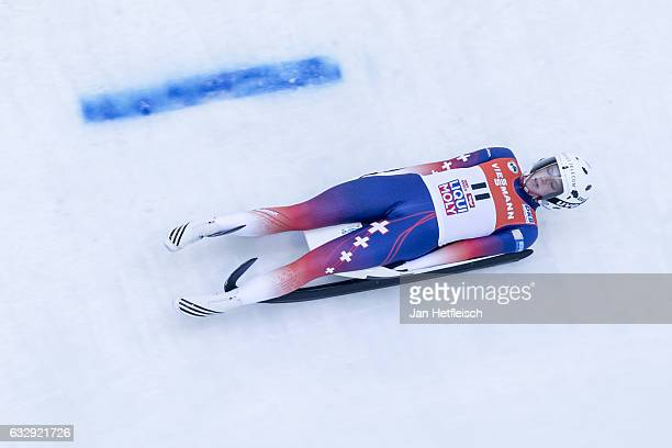 Martina Kocher of Switzerland competes in the first heat of the Women's Luge competition during the second day of the FILWorld Championships at...
