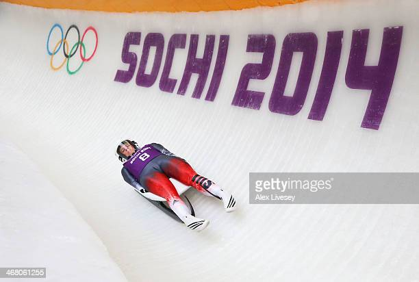 Martina Kocher of Switzerland makes a run during a Women's Luge Singles training session on Day 2 of the Sochi 2014 Winter Olympics at the Sanki...