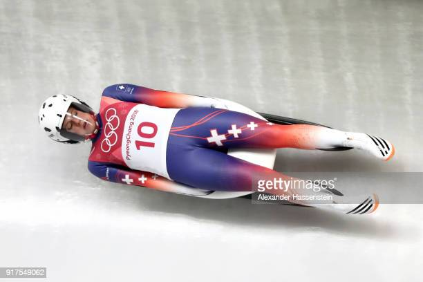 Martina Kocher of Switzerland slides during the Women's Singles Luge run 1 at Olympic Sliding Centre on February 12 2018 in Pyeongchanggun South Korea