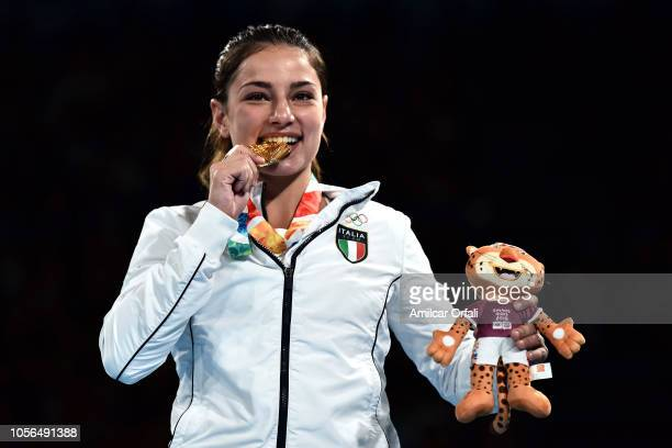 Martina La Piana of Italy celebrates her gold medal in Women's Fly Gold Medal Bout during day 12 of Buenos Aires 2018 Youth Olympic Games at Oceania...