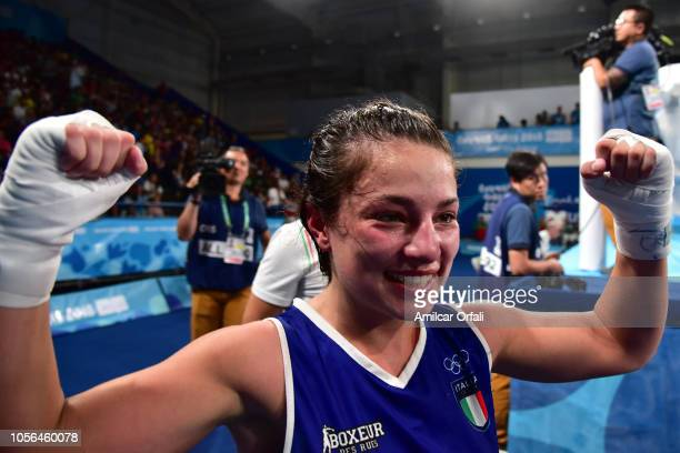 Martina La Piana of Italy celebrates his victory over Adijat Gbadamosi of Nigeria in Women's Fly Gold Medal Boutduring day 12 of Buenos Aires 2018...