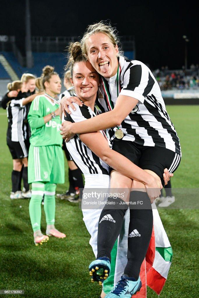 Martina Lenzini and Valentina Cernoia of Juventus celebrate during the women serie A final match between Juventus Women and Brescia calcio Femminile at Silvio Piola Stadium on May 20, 2018 in Novara, Italy.