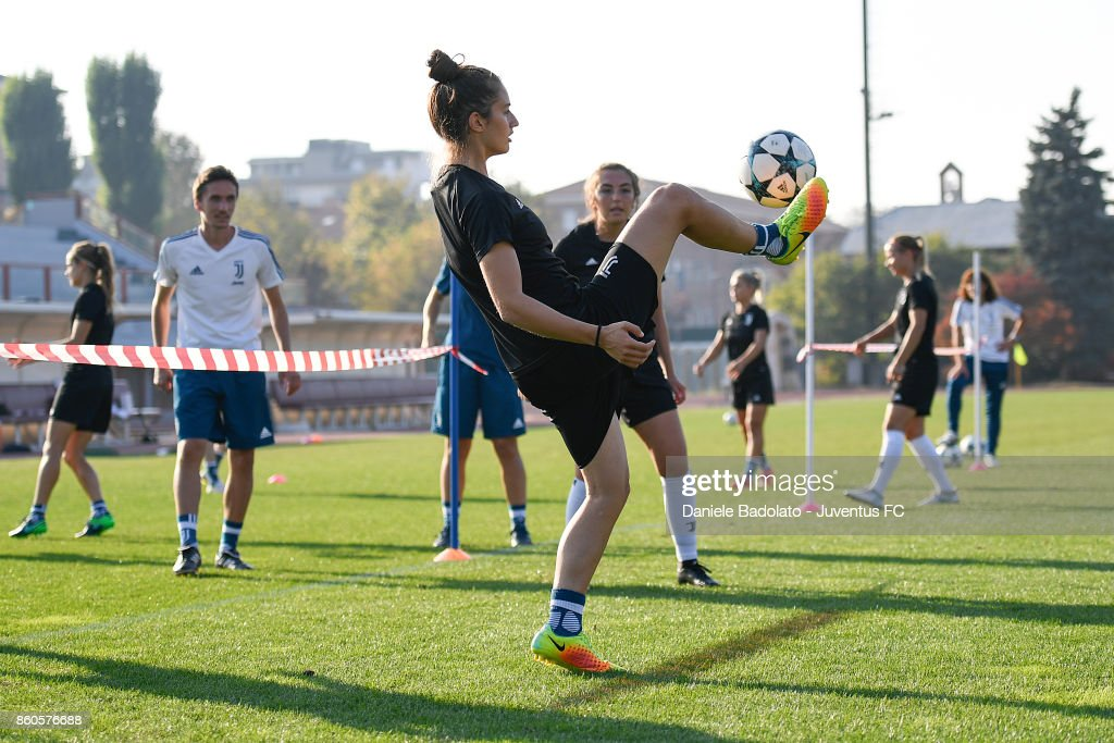 Martina Lenzini during a Juventus Women training session on October 12, 2017 in Turin, Italy.