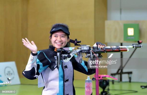 Martina Lindsay Veloso of Singapore celebrates winning a gold medal in the Women's 10m Air Rifle during Shooting on day five of the Gold Coast 2018...