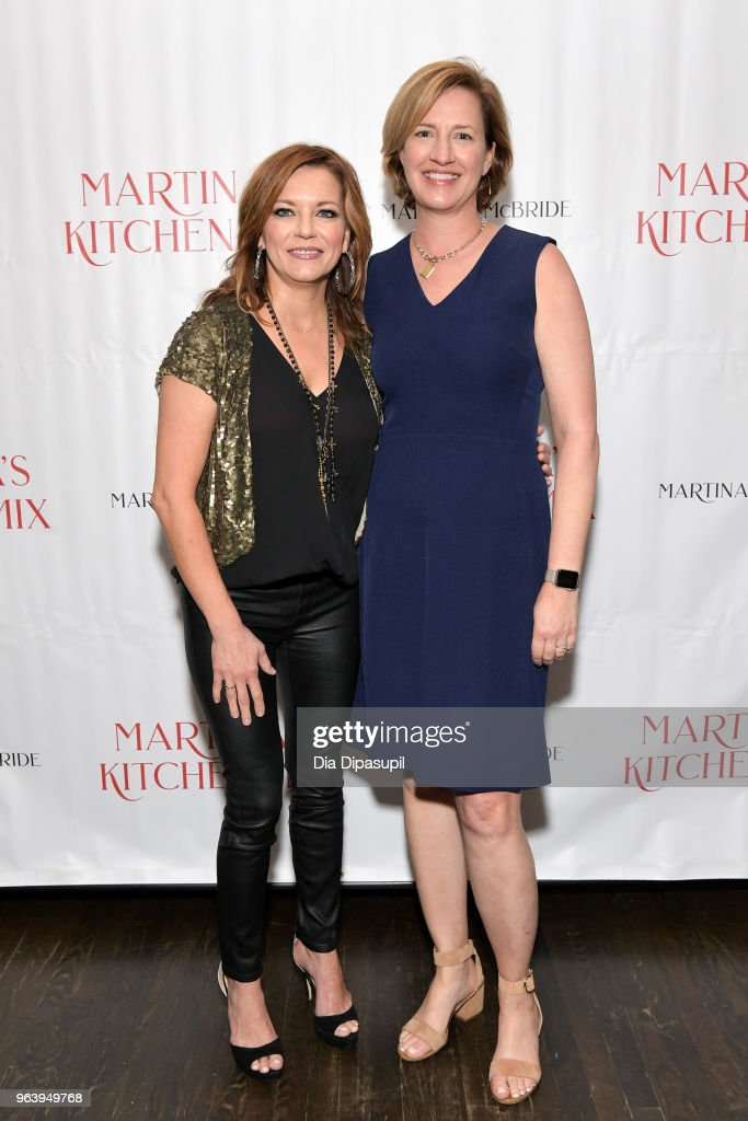 Martina McBride (L) and editor Katherine Cobbs attend Martina McBride Announces Forthcoming Cookbook 'Martina's Kitchen Mix' at Chef's Club on May 30, 2018 in New York City.