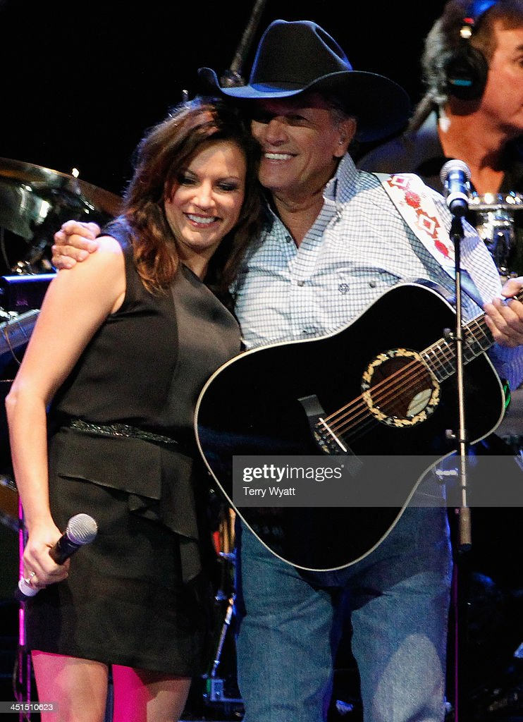 Martina McBride and George Strait perform during Playin' Possum! The Final No Show Tribute To George Jones - Show at Bridgestone Arena on November 22, 2013 in Nashville, Tennessee.