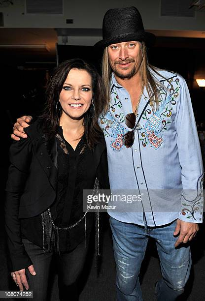 Martina McBride and Kid Rock backstage at Ford Field on January 15, 2011 in Detroit, Michigan.