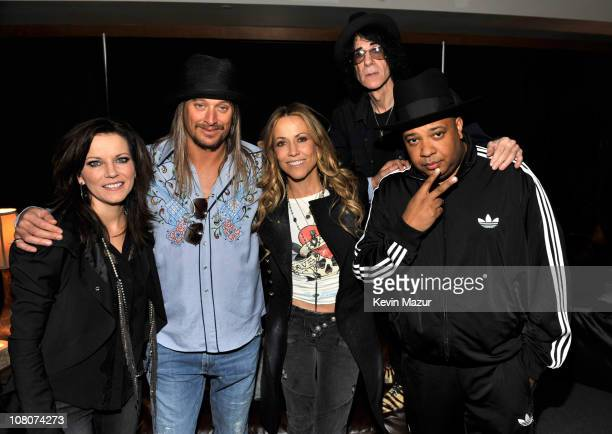 """Martina McBride, Kid Rock, Sheryl Crow, Peter Wolf and Joseph """"Rev Run"""" Simmons backstage at Ford Field on January 15, 2011 in Detroit, Michigan."""