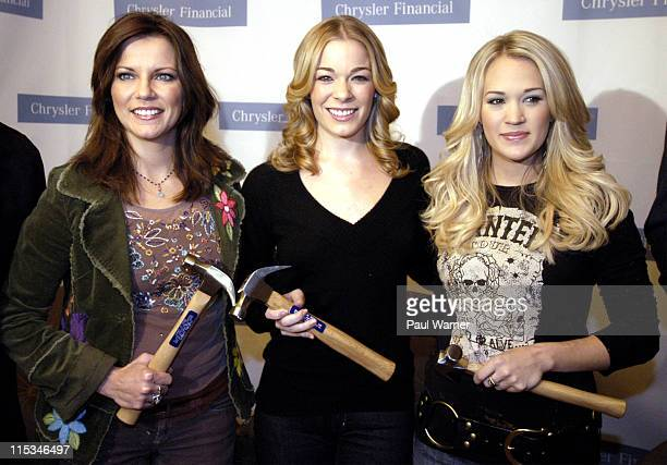 Martina McBride LeAnn Rimes and Carrie Underwood during Country Cares Holiday Concert to Benefit Hurricane Relief Press Conference December 8 2005 at...