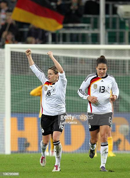 Martina Mueller of Germany celebrates her team's goal during the women's international friendly match between Germany and Australia at Volkswagen...