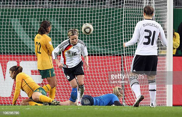 Martina Mueller of Germany scores a goal during the women's international friendly match between Germany and Australia at Volkswagen Arena on October...