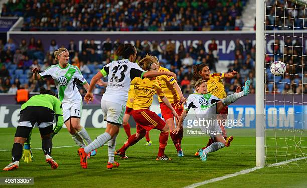 Martina Mueller of VfL Wolfsburg scores their fourth goal during the UEFA Women's Champions Final match between Tyreso FF and Wolfsburg at Do Restelo...