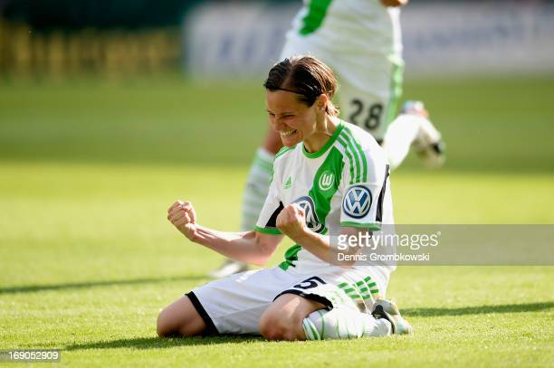Martina Mueller of Wolfsburg celebrates after scoring his team's second goal during the Women's DFB Cup Final between VfL Wolfsburg and 1 FFC Turbine...