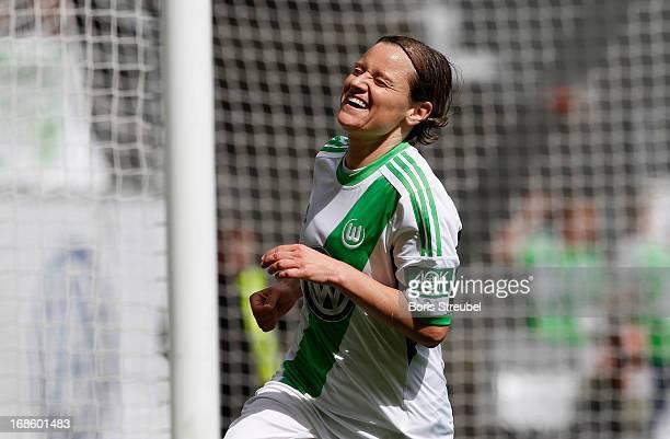 Martina Mueller of Wolfsburg celebrates her team's second goal during the Women's Bundesliga match between VfL Wolfsburg and SC Bad Neuenahr at...