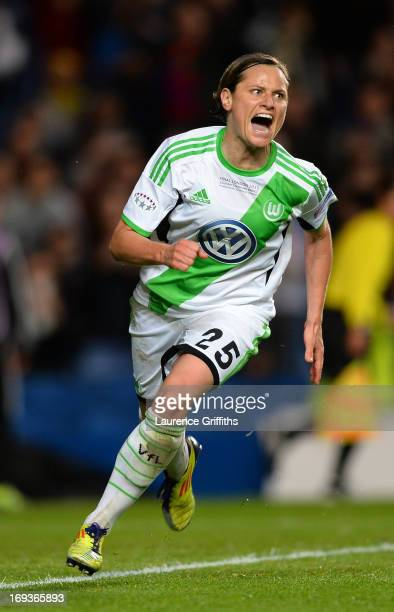 Martina Muller of VfL Wolfsburg celebrates scoring their first goal from the penalty spot during the UEFA Women's Champions League Final Match...