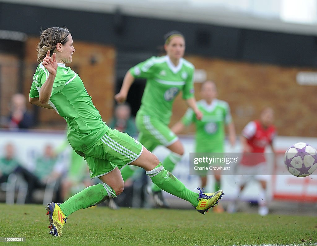 Martina Muller of Wolfsburg scores their second goal during the UEFA Women's Champions League Semi Final First Leg match between Arsenal Ladies and VFL Wolfsburg at Meadow Park on April 14, 2013 in Borehamwood, England.
