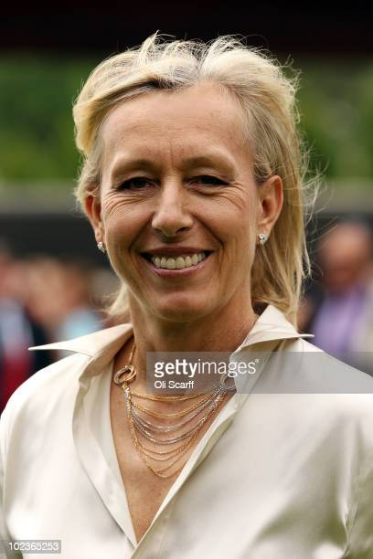 Martina Navratilova after meeting Queen Elizabeth II as she attends the Wimbledon Lawn Tennis Championships on Day 4 at the All England Lawn Tennis...