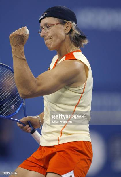Martina Navratilova and Bob Bryan win the mixed doubles final against Kveta Peschke and Martin Damm at the 2006 US Open at the USTA National Tennis...