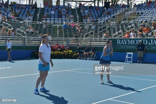 Martina Navratilova and Chris Evert participate in the 28th Annual Chris Evert/Raymond James ProCelebrity Tennis Classic at Delray Beach Tennis...