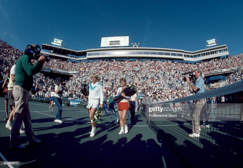 Martina Navratilova (left) and Chris Evert-Lloyd both of the USA walk onto the court prior to the Women's Singles Final in the US Open at the USTA National Tennis Center on September 8, 1984 in Flushing Meadow, New York, USA.