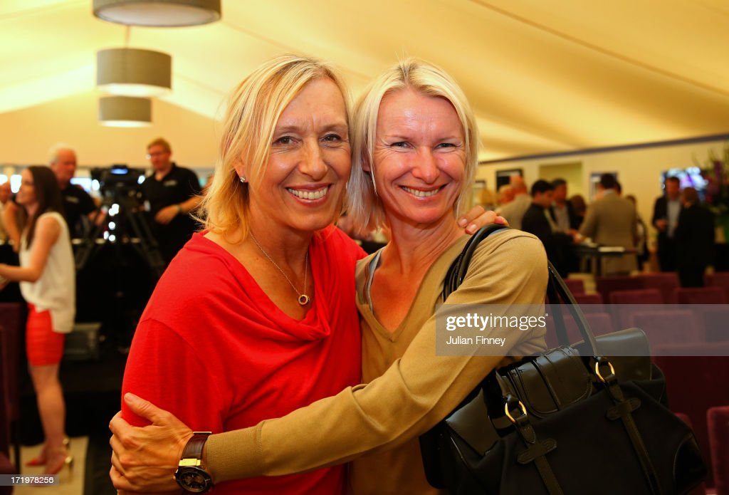 Martina Navratilova and Jana Novotna pose during the WTA 40 Love Celebration during Middle Sunday of the Wimbledon Lawn Tennis Championships at the All England Lawn Tennis and Croquet Club on June 30, 2013 in London, England.