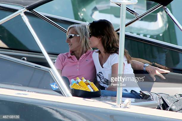 Martina Navratilova and Julia Lemigova take a boatride on July 13 2014 in SaintTropez France