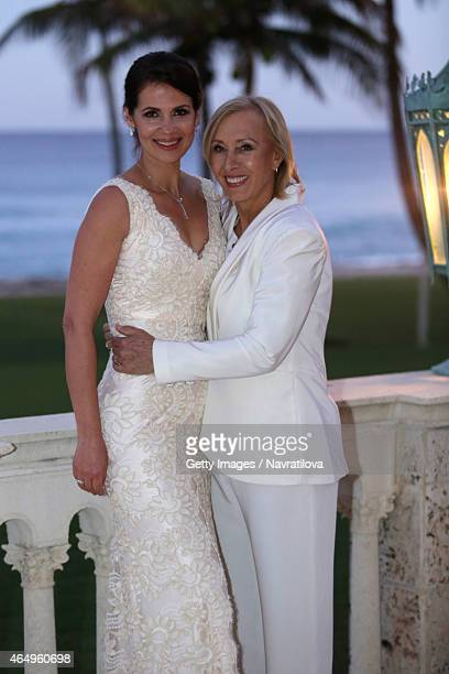Martina Navratilova and Julie Lemigova attend the Martina Navratilova and Julie Lemigova wedding reception on February 14 2015 in Palm Beach