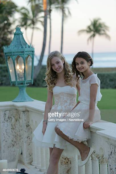 Martina Navratilova and Julie Lemigova daughters Victoria and Emma attend the Martina Navratilova and Julie Lemigova wedding reception on February 14...